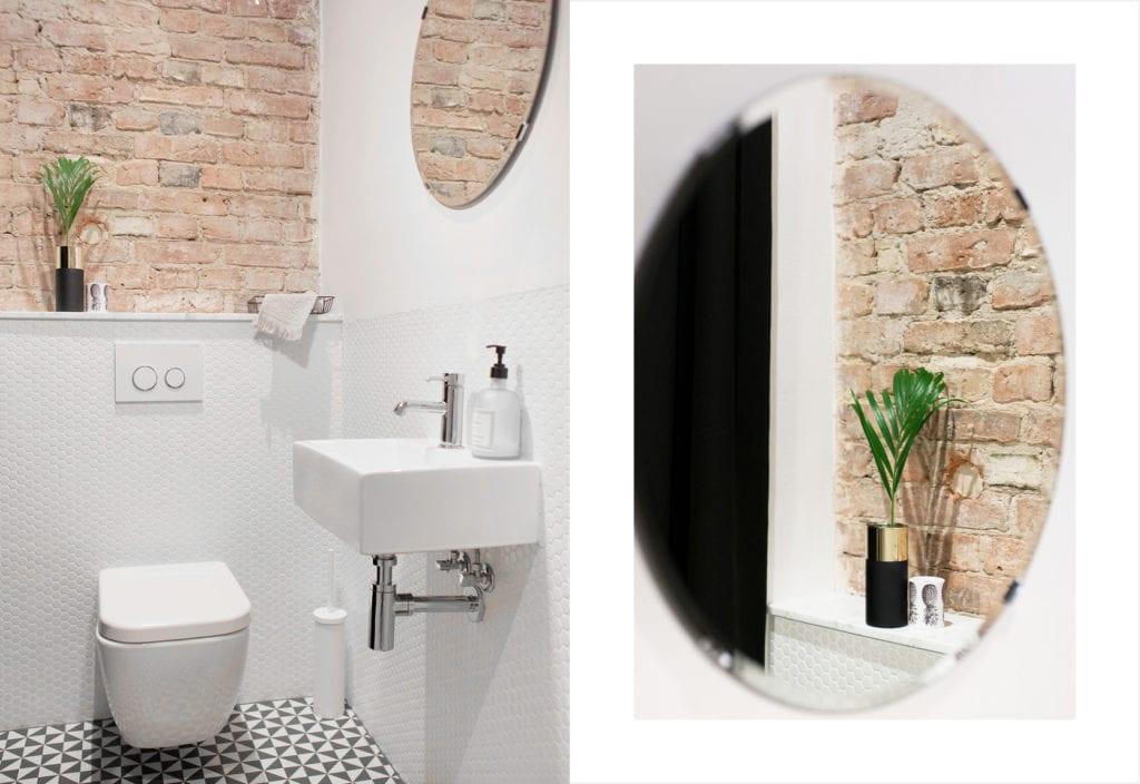 Pracownia Silke i warszawskie mieszkanie w przedwojennej kamienicy - okrągłe lustro w łazience
