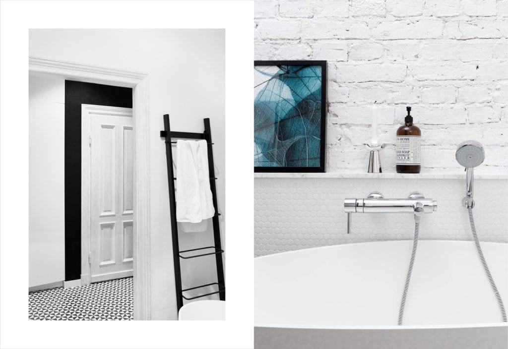 Pracownia Silke i warszawskie mieszkanie w przedwojennej kamienicy - jasna łazienka