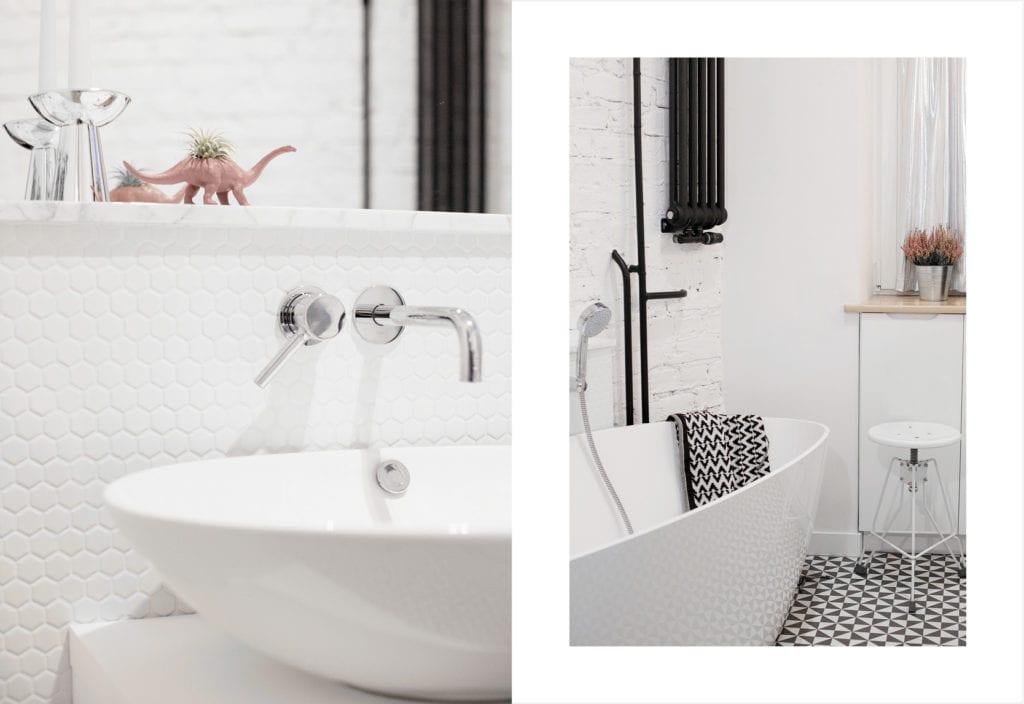 Pracownia Silke i warszawskie mieszkanie w przedwojennej kamienicy - biała umywalka w jasnej łazience
