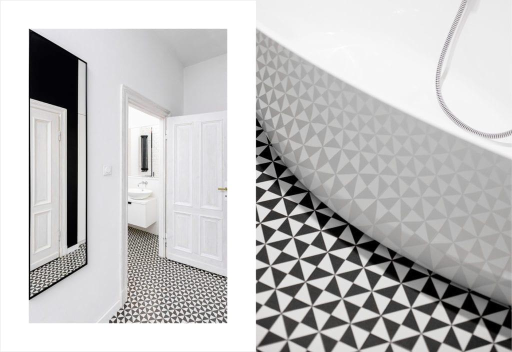 Pracownia Silke i warszawskie mieszkanie w przedwojennej kamienicy - biało-czarna łazienka