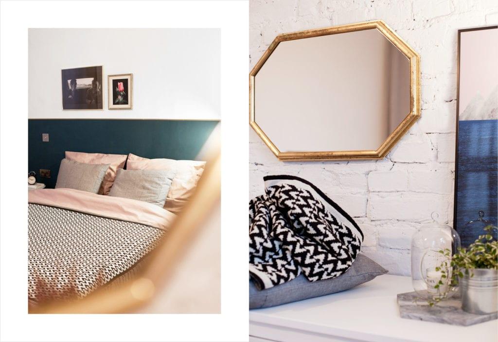 Pracownia Silke i warszawskie mieszkanie w przedwojennej kamienicy - lustro w złotej ramie wiszące na białej ścianie