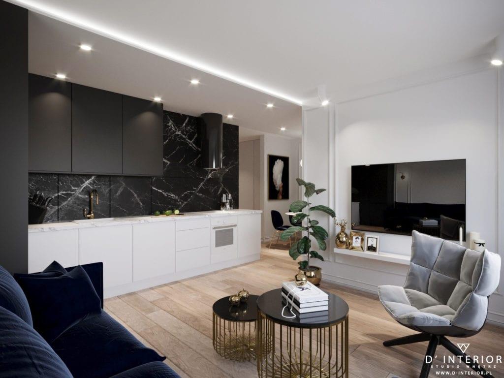 D'INTERIOR i projekt mieszkania na wynajem - salon połączony z kuchnią