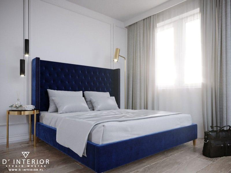 D'INTERIOR i projekt mieszkania na wynajem - duże łóżko w sypialni