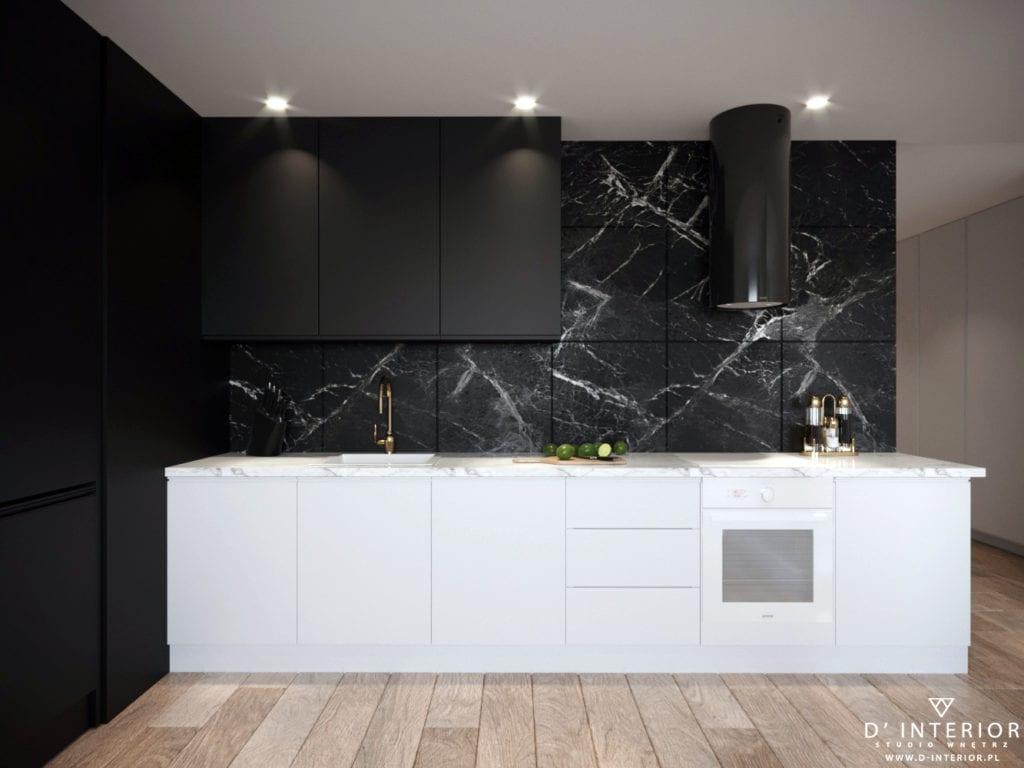 D'INTERIOR i projekt mieszkania na wynajem - czarna kuchnia i białe fronty meblowe