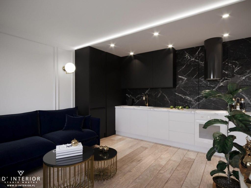 D'INTERIOR i projekt mieszkania na wynajem - kuchnia połączona z salonem