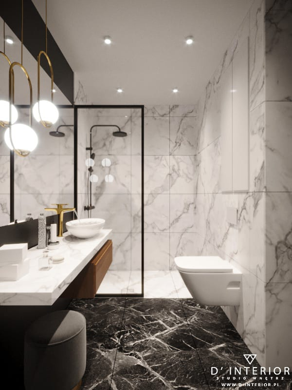 D'INTERIOR i projekt mieszkania na wynajem - jasna łazienka z ciemną podłogą