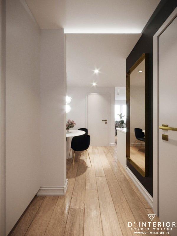 D'INTERIOR i projekt mieszkania na wynajem - jasny przedpokój