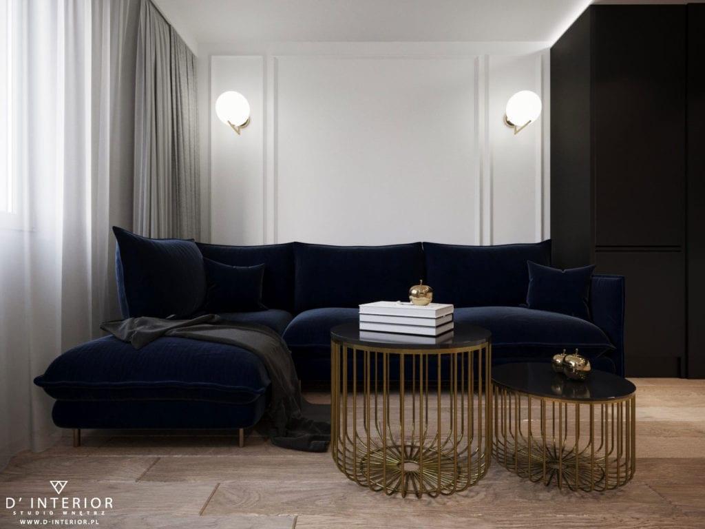 D'INTERIOR i projekt mieszkania na wynajem - granatowa sofa i złoty stolik