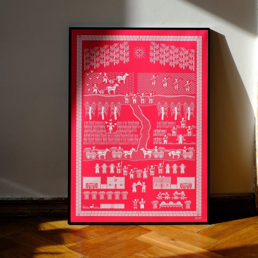 Duxi – polska pracownia, która wyznacza kierunek - Plakat Dożynki różowe