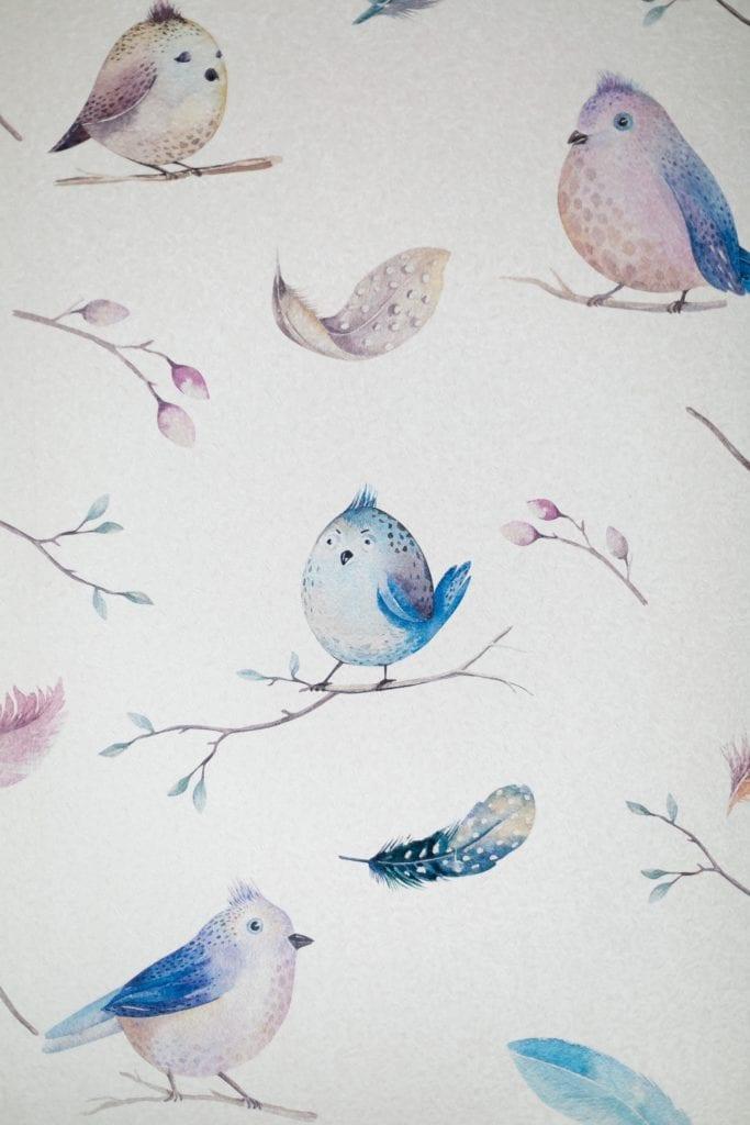 MIKOŁAJSKAstudio i wnętrza domu w Krakowie - tapeta dziecięca z motywem ptaków