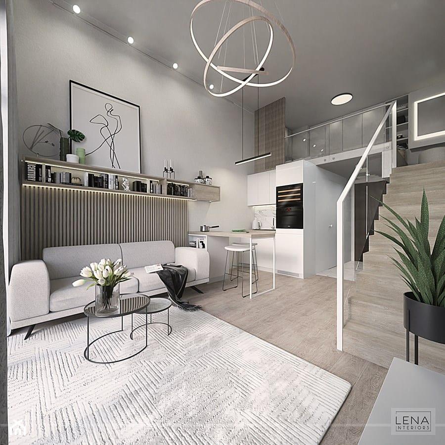 Poznaj sprytne sposoby na salon z aneksem kuchennym - projekt Lena Interiors