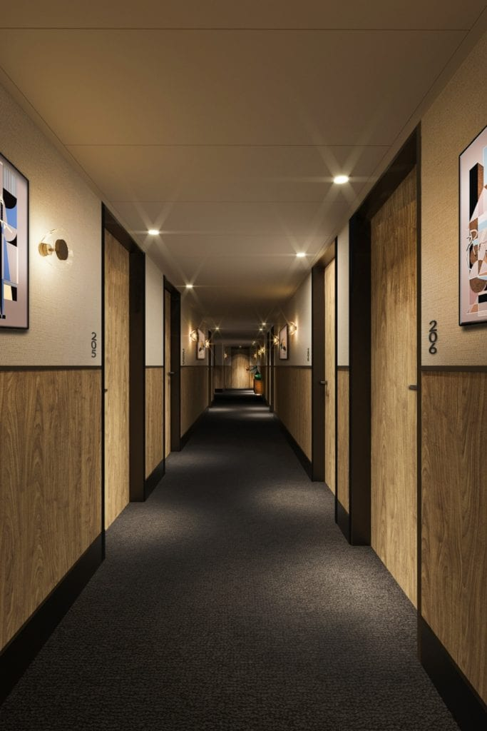 Qubus Hotel Katowice projektu pracowni MIXD - Korytarz