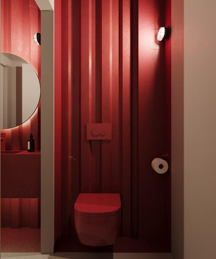 Ramenownia – oryginalny, japoński klimat w Łodzi - projekt pracownia Qubatura - czerwona toaleta w lokalu Ramenownia