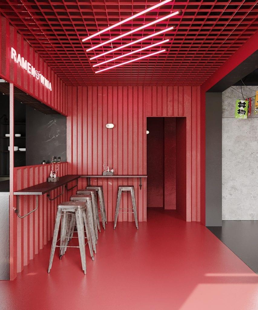 Ramenownia – oryginalny, japoński klimat w Łodzi - projekt pracownia Qubatura - wnętrze lokalu