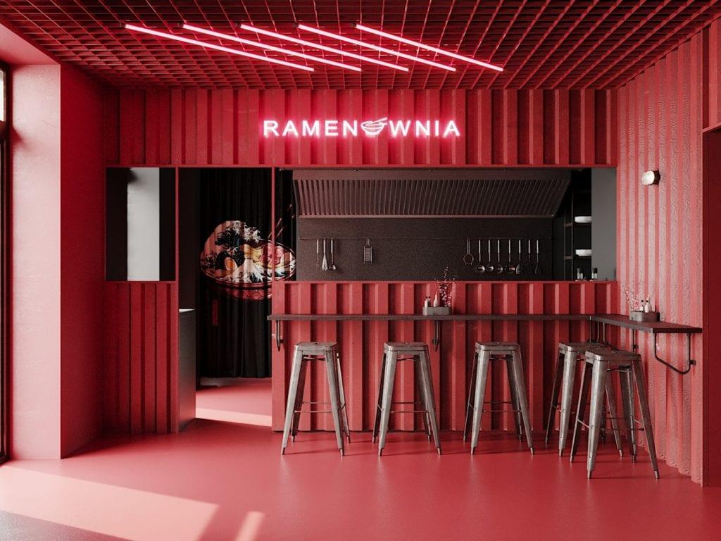 Ramenownia – oryginalny, japoński klimat w Łodzi - projekt pracownia Qubatura - kuchnia w lokalu