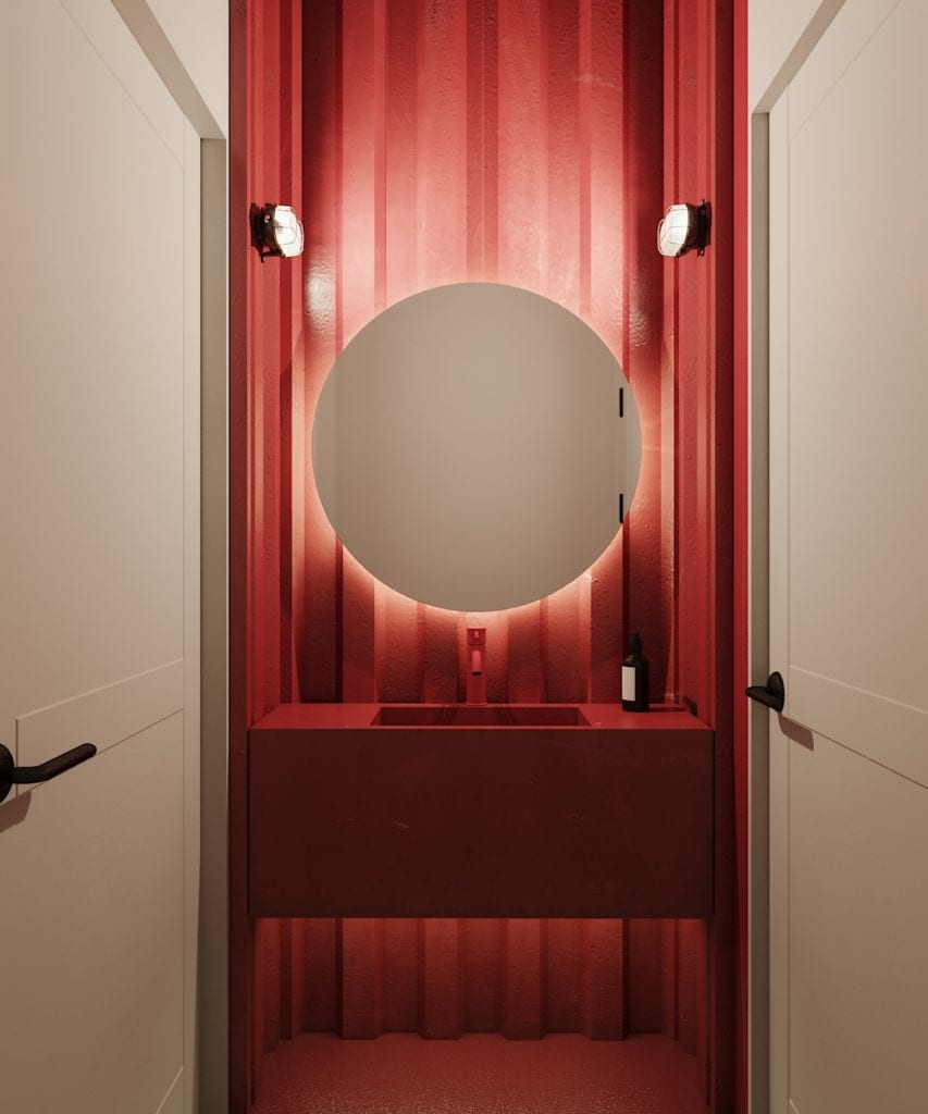 Ramenownia – oryginalny, japoński klimat w Łodzi - projekt pracownia Qubatura - okrągłe lustro w łazience w lokalu Ramenownia w Łodzi