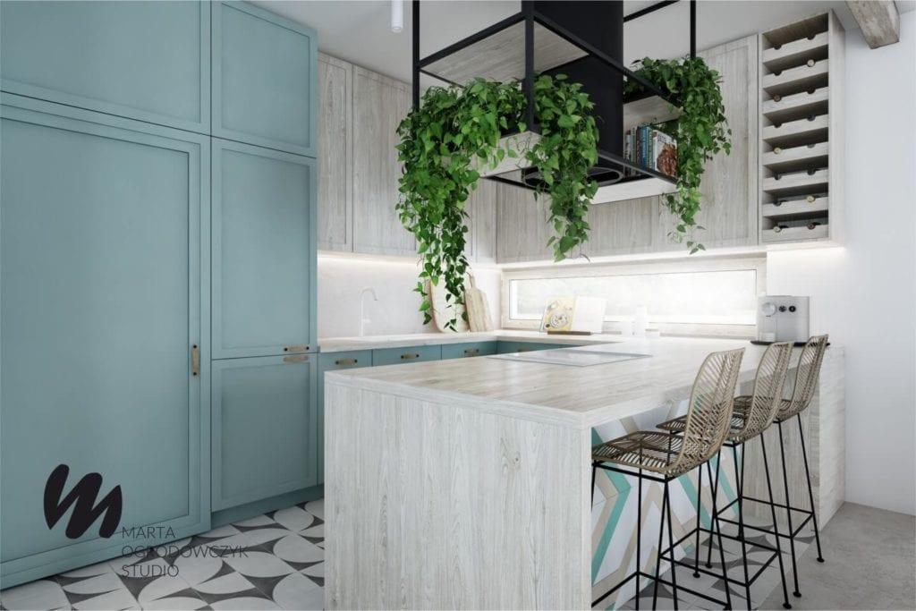 Ciepłe wnętrze w stylu boho projektu Marta Ogrodowczyk Studio - wyspa w kuchni
