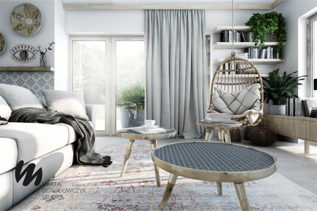 Ciepłe wnętrze w stylu boho projektu Marta Ogrodowczyk Studio - stoliki w salonie
