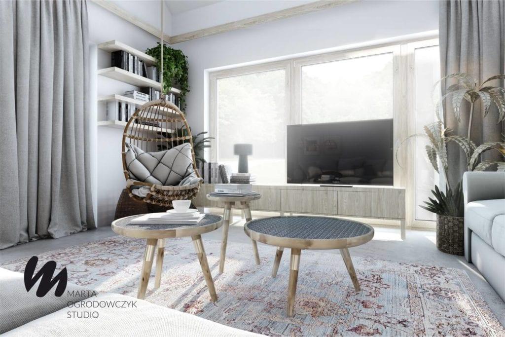 Ciepłe wnętrze w stylu boho projektu Marta Ogrodowczyk Studio - dwa stoliki w saloine