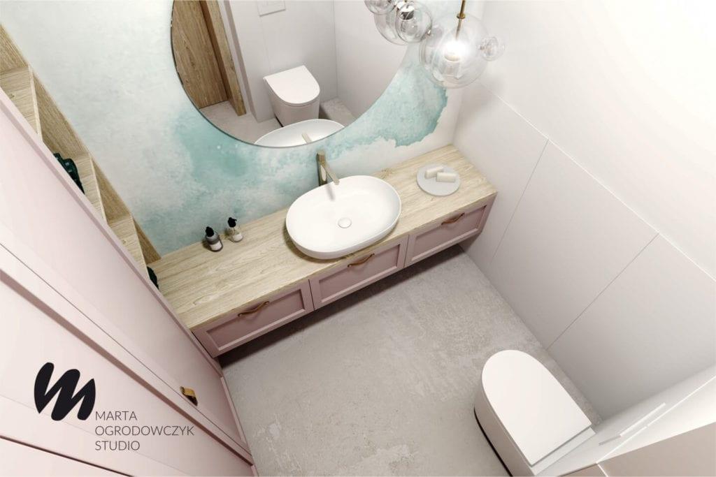 Ciepłe wnętrze w stylu boho projektu Marta Ogrodowczyk Studio - duże lustro w łazience