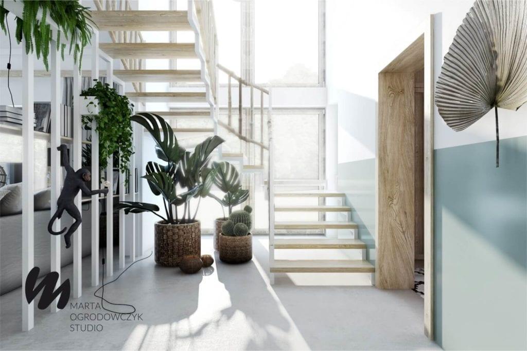 Ciepłe wnętrze w stylu boho projektu Marta Ogrodowczyk Studio - schody w domu