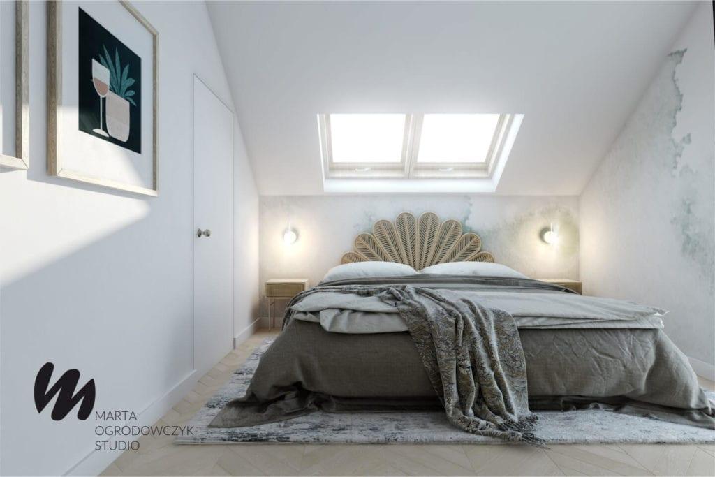 Ciepłe wnętrze w stylu boho projektu Marta Ogrodowczyk Studio - duże łóżko w sypialni