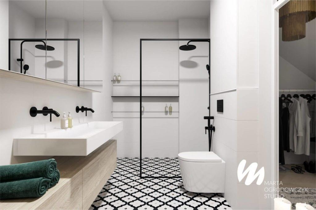Ciepłe wnętrze w stylu boho projektu Marta Ogrodowczyk Studio - kabina prysznicowa w łazience