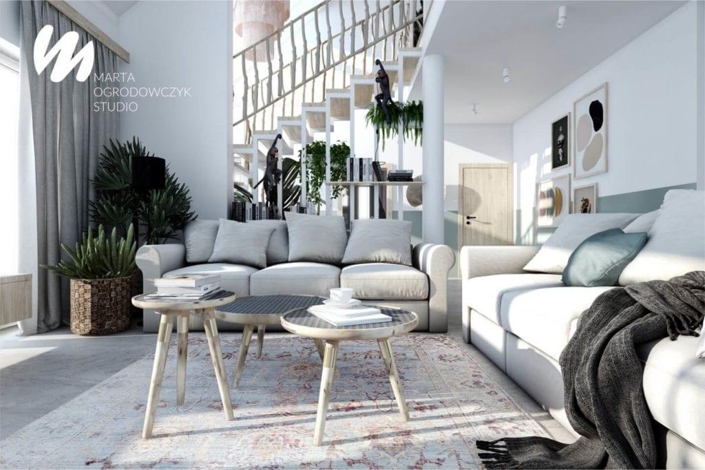 Ciepłe wnętrze w stylu boho projektu Marta Ogrodowczyk Studio - stolik w salonie