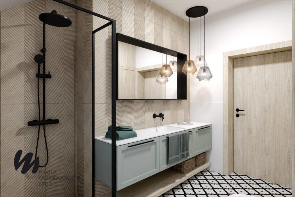 Ciepłe wnętrze w stylu boho projektu Marta Ogrodowczyk Studio - szafka w łazience