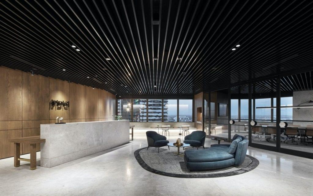 Czarne sufity podwieszane - akustyka i elegancja - Siedziba firmy deweloperskiej PDG w Melbourne w Australii. Projektanci z pracowni Studio Tate
