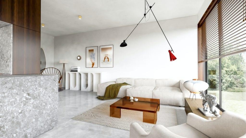IN studio projektowe i wnętrza domu jednorodzinnego - jasna sofa w salonie