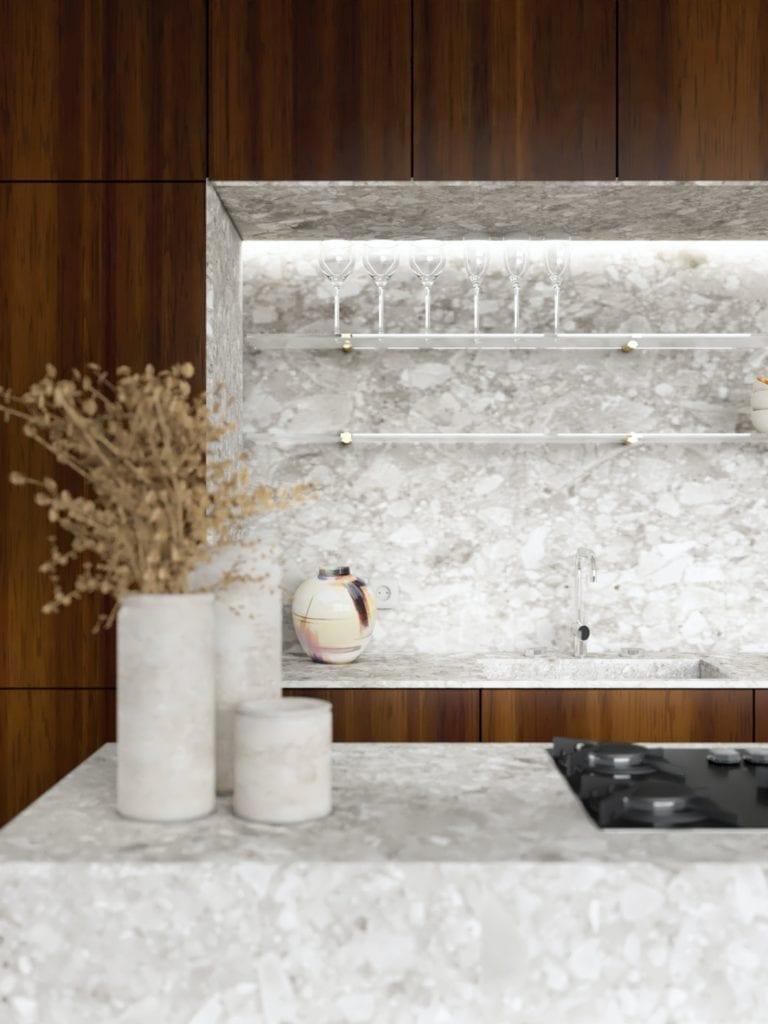 IN studio projektowe i wnętrza domu jednorodzinnego - wyspa kuchenna w kuchni