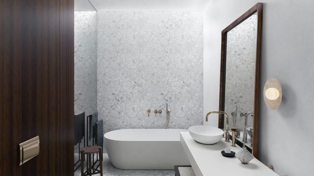 IN studio projektowe i wnętrza domu jednorodzinnego - Wanna w łazience