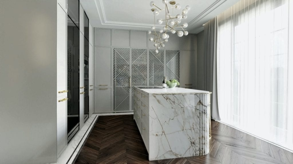 Tissu Architecture i piękne wnętrza willi w sercu Starego Żoliborza - marmur w kuchni