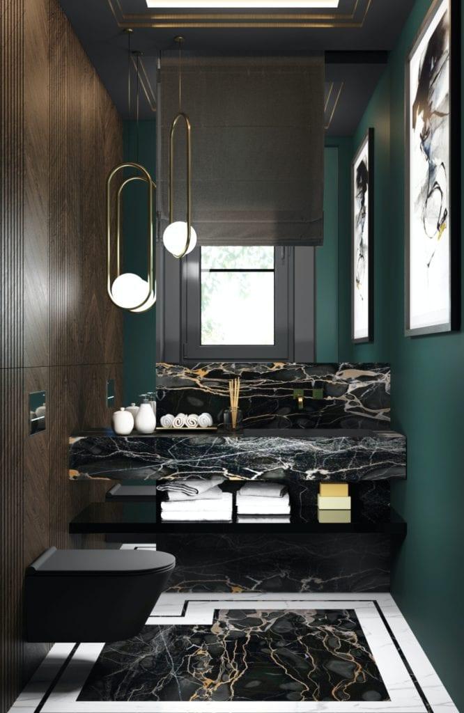 Tissu Architecture i piękne wnętrza willi w sercu Starego Żoliborza - ciemna łazienka z zielonym detalem