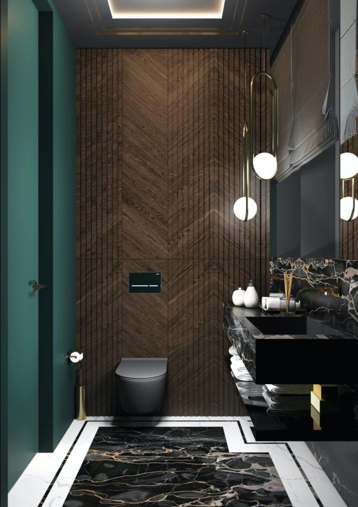 Tissu Architecture i piękne wnętrza willi w sercu Starego Żoliborza - toaleta w ciemnych kolorach