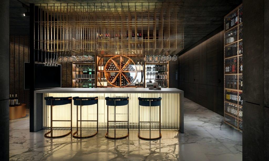 Tissu Architecture i piękne wnętrza willi w sercu Starego Żoliborza - bar w willi