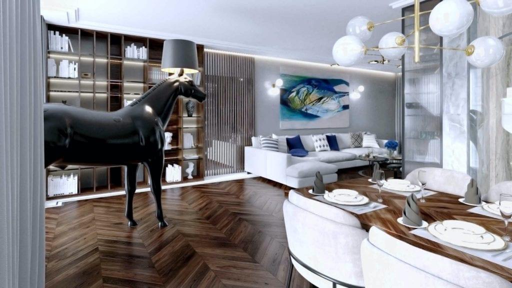 Tissu Architecture i piękne wnętrza willi w sercu Starego Żoliborza - lampa koń Moooi w salonie