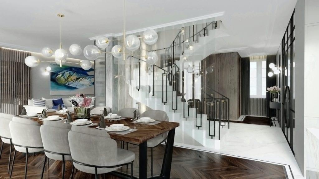 Tissu Architecture i piękne wnętrza willi w sercu Starego Żoliborza - przestronny salon