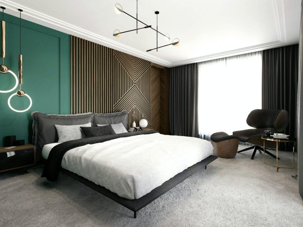 Tissu Architecture i piękne wnętrza willi w sercu Starego Żoliborza - ogromne łóżko w sypialni