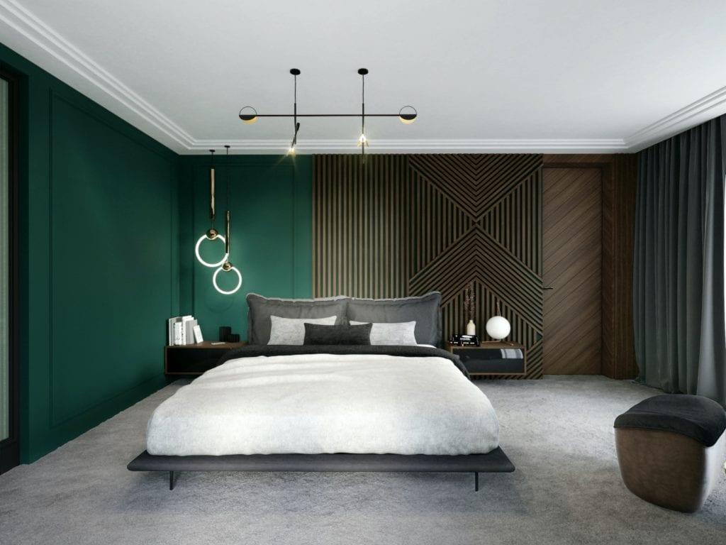 Tissu Architecture i piękne wnętrza willi w sercu Starego Żoliborza - przestronna sypialnia z małżeńskim łożem