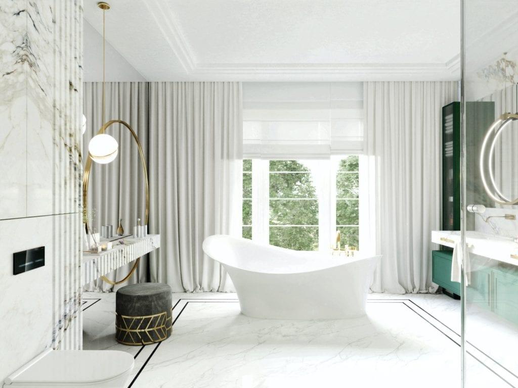 Tissu Architecture i piękne wnętrza willi w sercu Starego Żoliborza - biała wanna wolnostojąca w salonie kąpielowym