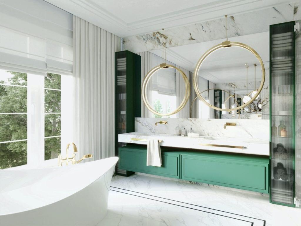 Tissu Architecture i piękne wnętrza willi w sercu Starego Żoliborza - jasna łazienka