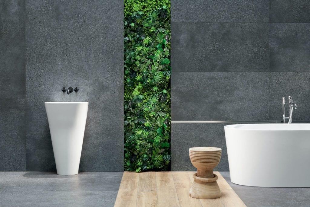 Tubądzin i nowoczesna łazienka w wielkim mieście - Terrazzo Graphite Mountain Ash Gold