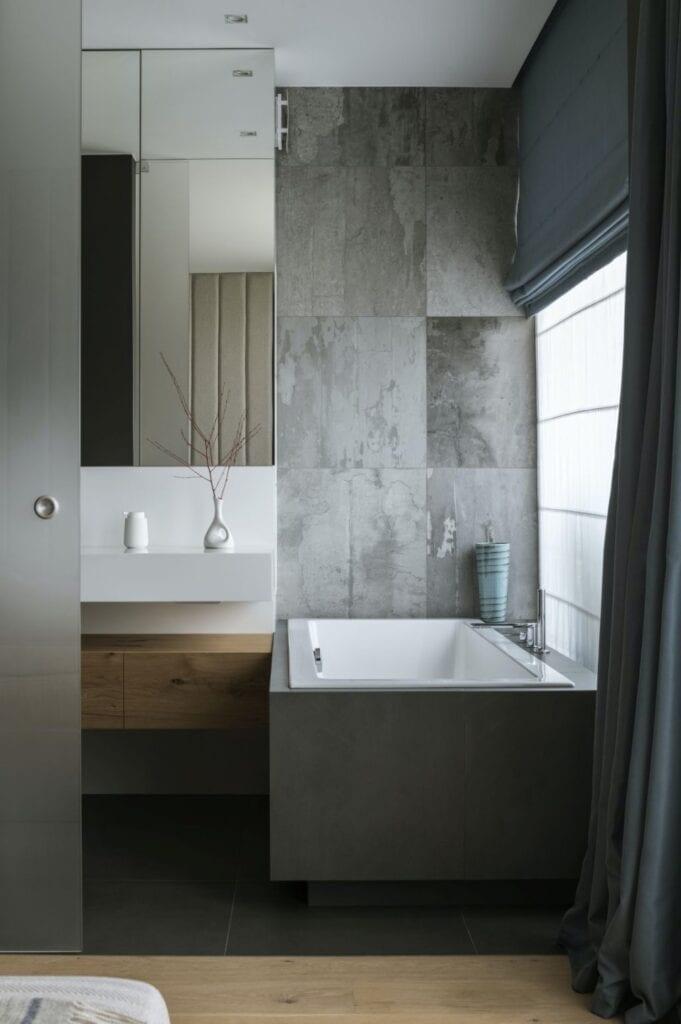 Szara łazienka w warszawskim apartamencie