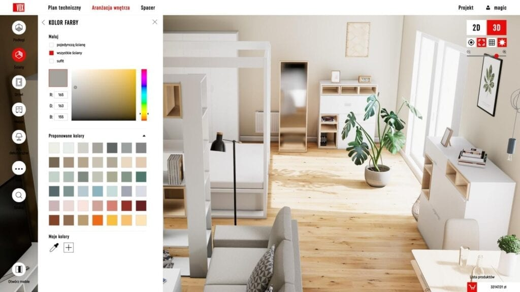 VOXBOX - projektowanie domu nigdy nie było tak proste - Interfejs aplikacji