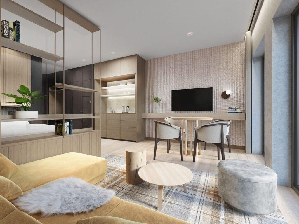 Wnętrza DuoVita Smart Apartaments projektu MIXD - resortowy aparthotel w jednym z najpiękniejszych polskich górskich kurortów, Wiśle