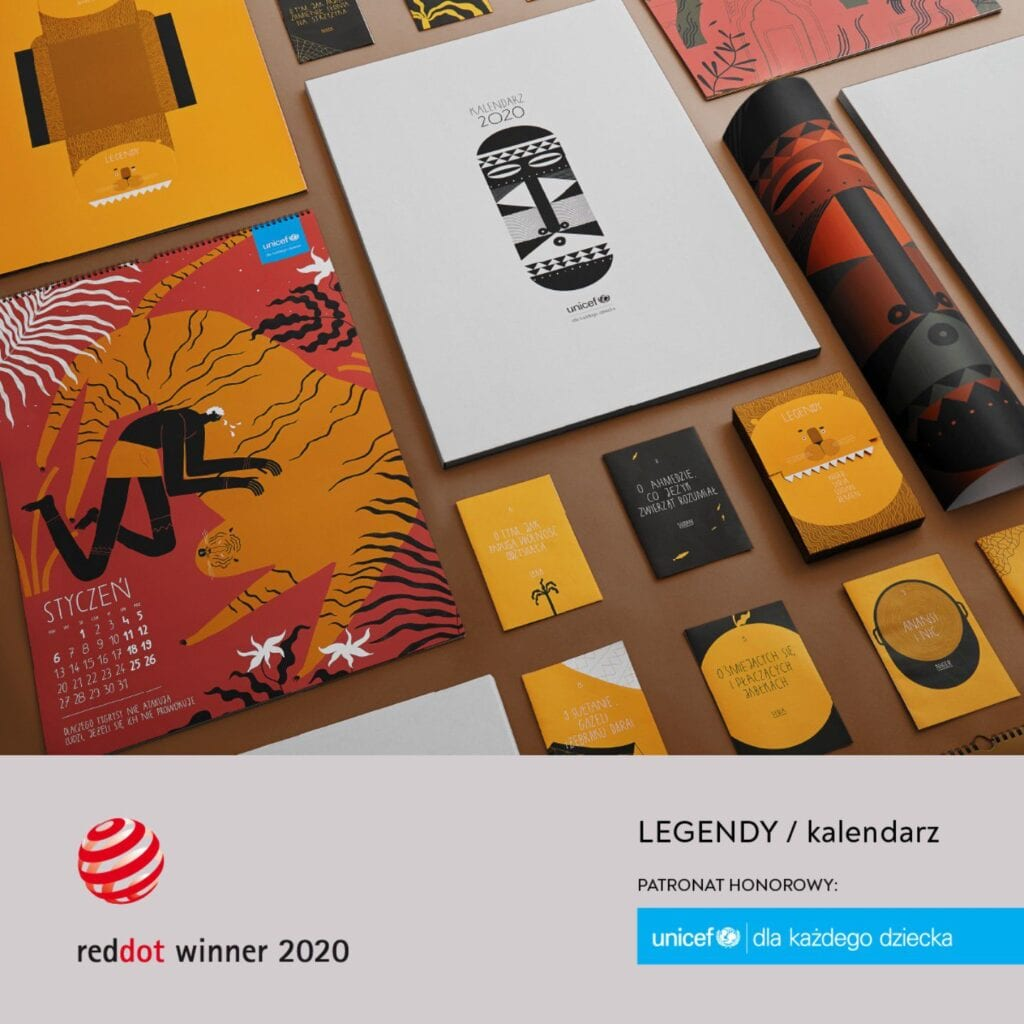 "Kalendarz ""LEGENDY"" projektu TOFU Studio z nagrodą RED DOT Award"
