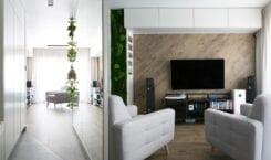 Pracownia PROJEKTYW i mieszkanie w monochromatycznej odsłonie