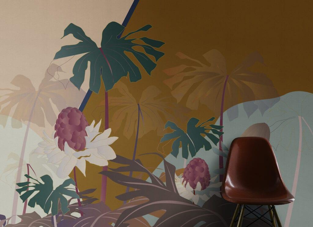 Esotismi - kolekcja jedwabnych tapet marki Misha - Oasi Peach + Sunset